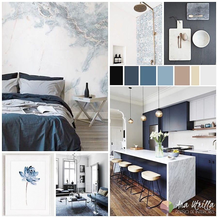 Moodboard para combinar el color azul en tu decoración de interiores por Ana Utrilla Interiorismo