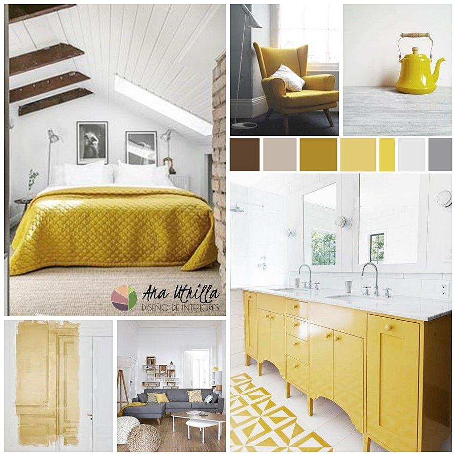 Moodboard para combinar el color amarillo con otros colores en tu decoración de interiores