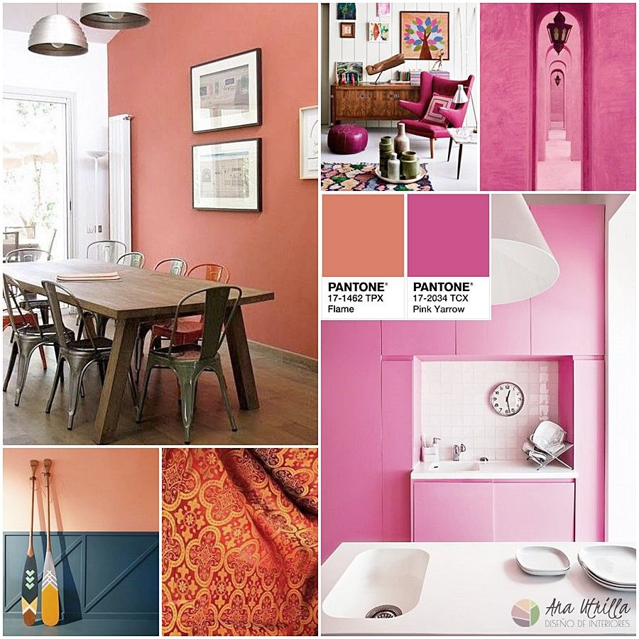 Decoración de interiores en color naranja flame y rosa pinkyarow por Ana Utrilla