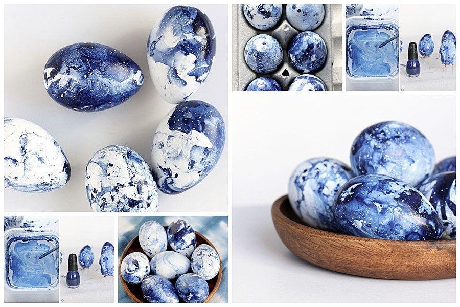 Huevos de Pascua decorados con efecto mármol azul, diy Semana Santa