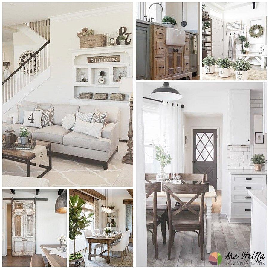 Estilo FarmHouse en decoración de interiores, espacios de salón-comedor, cocina, habitaciones