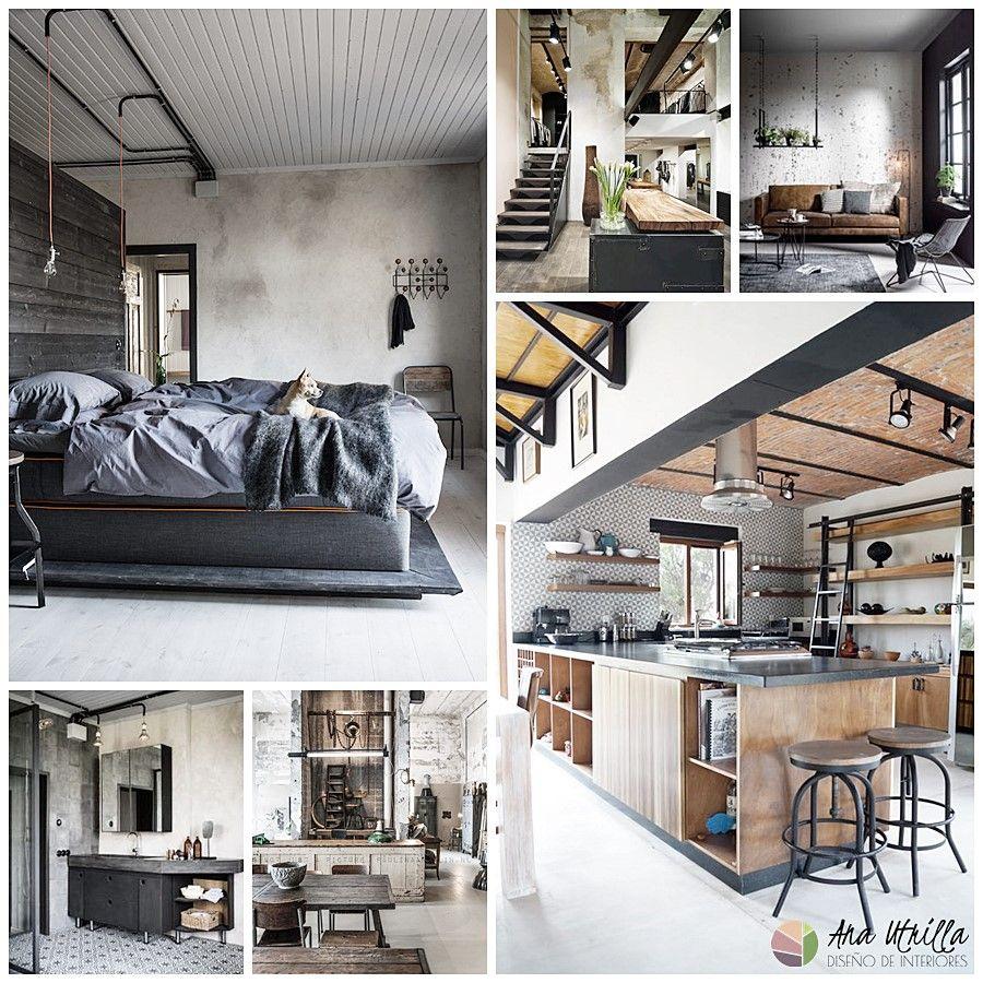 Decoración de interiores de estilo industrial para el salón, comedor, cocina, habitaciones