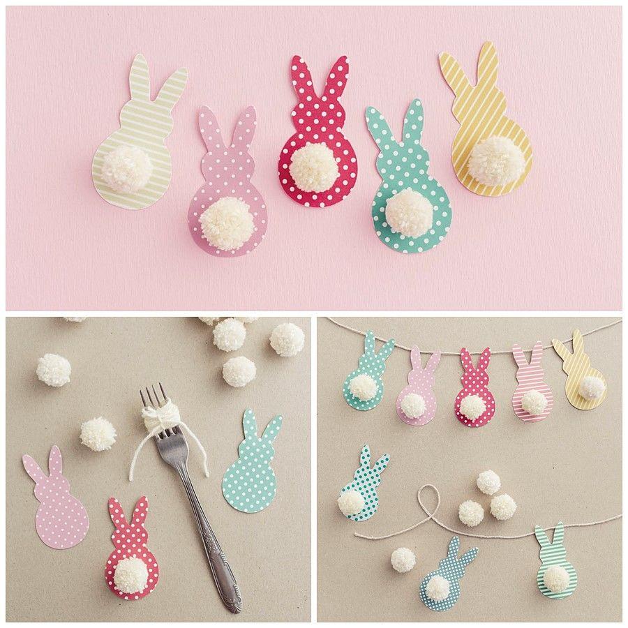 Guirnalda de Pascua, conejitos de colores, divertido diy para los peques