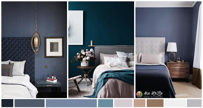 dormitorio de color azul oscuro, navy, niagara, como escoger el color adecuado en tu habitación principal