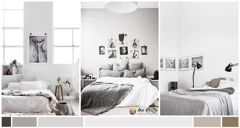 Color en el dormitorio, gris y tonos claros