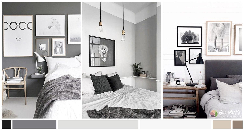 Dormitorio de color gris oscuro, cómo escoger el color adecuado