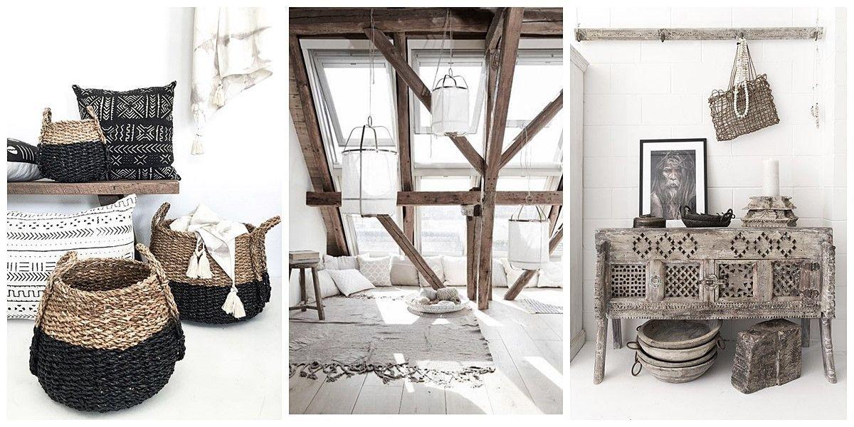 Decoración de interiores de estilo nord-ethnic o escandinavo etnico