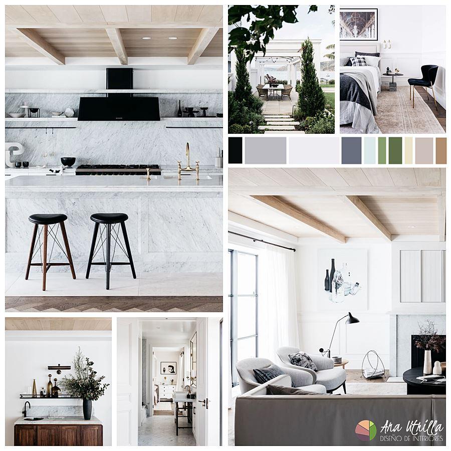 Paleta de colores utilizados en la decoración de interiores de estilo francés minimalista