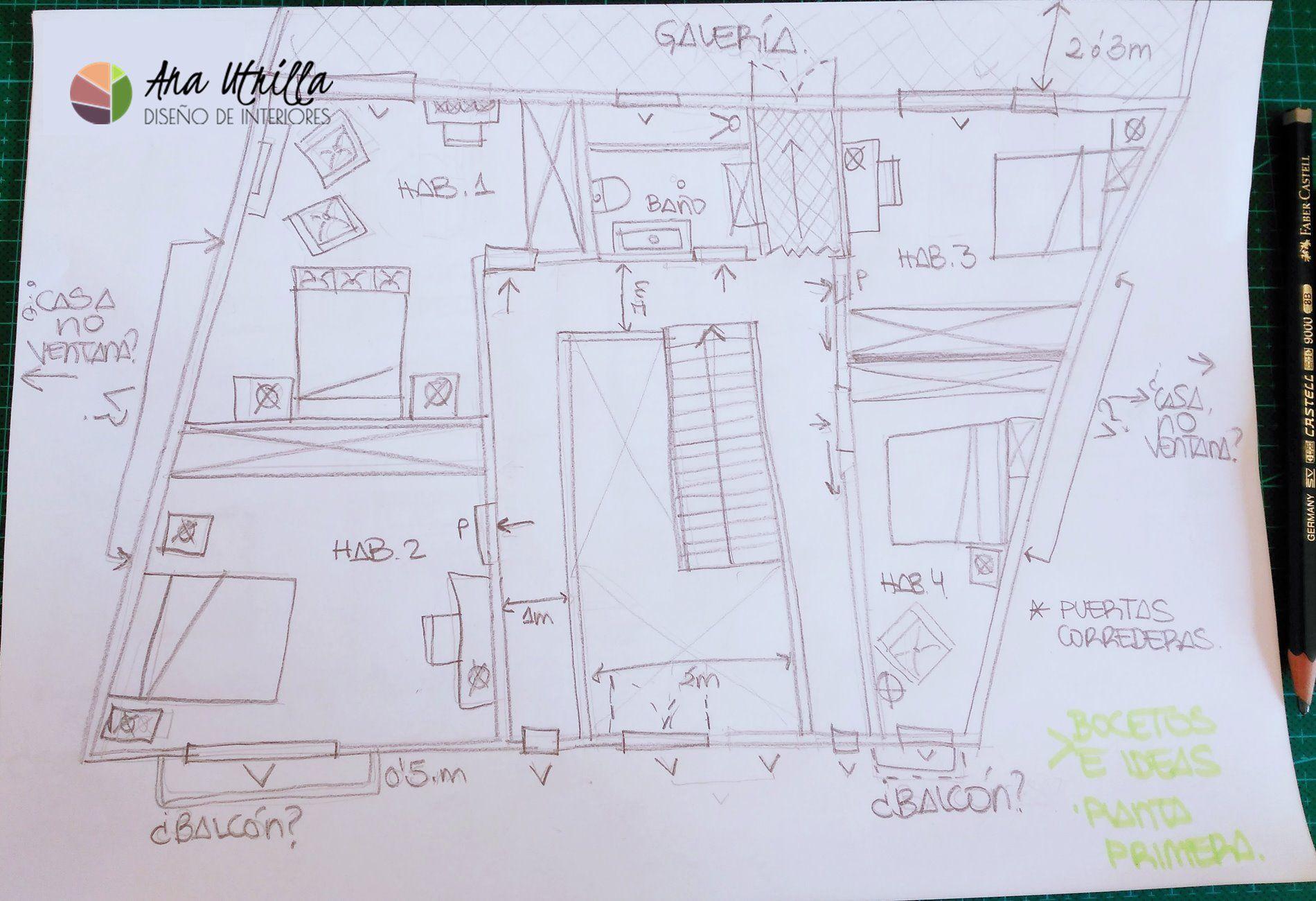 Plano de segunda planta a mano alzada de casa rural en León