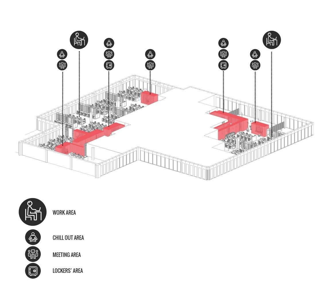 Plano en perspectiva de diseño de oficina para Call Center por Metaforma
