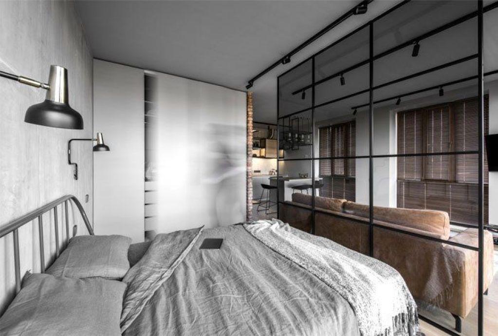 Habitación de estilo minimalista industrial de apartamento de 46 m2