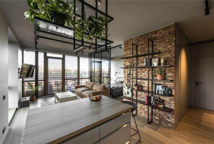 Cocina a medida de estilo industrial en apartamento de 46 m2