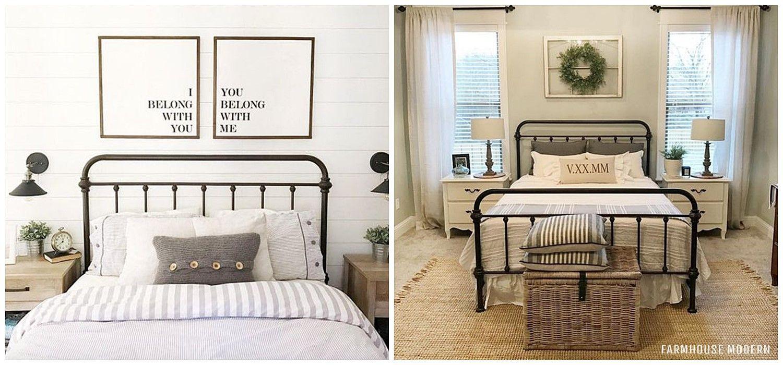 Camas de hierro forjado, cabecero y dosel, de estilo rústico moderno o farmhouse moderno @utrillanais
