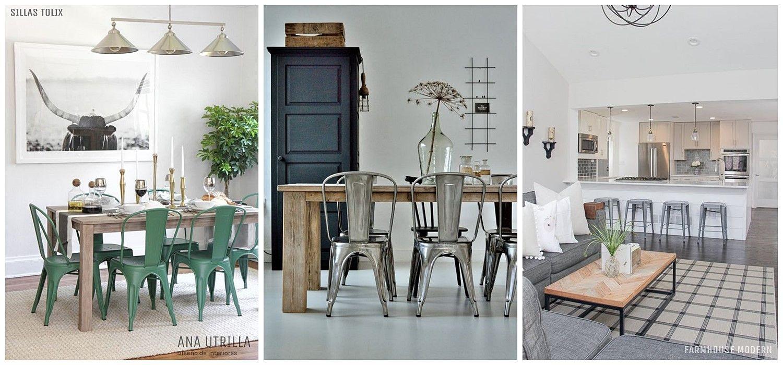Decoración de interiores para comedor de estilo farmhouse moderno con sillas Tolix @utrillanais