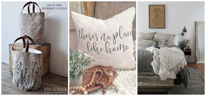 Tela de saco o arpillera para textiles, como cojines, caminos de mesa, clave para conseguir un estilo farmhouse moderno @utrillanais