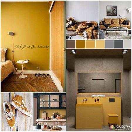 Moodboard estilo nórdico contemporáneo en color amarillo mostaza @Utirllanais