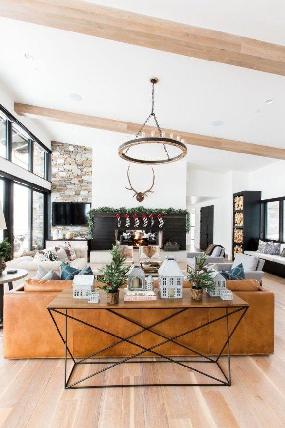 Elementos decorativos con ramas de abeto natural para decorar una casa de montaña de estilo farmhouse moderno @Utrillanais