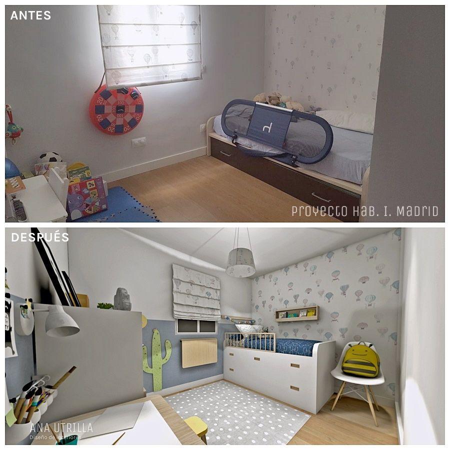 Antes y después de proyecto coaching deco en Madrid de habitación infantil de estilo nórdico @Utrillanais