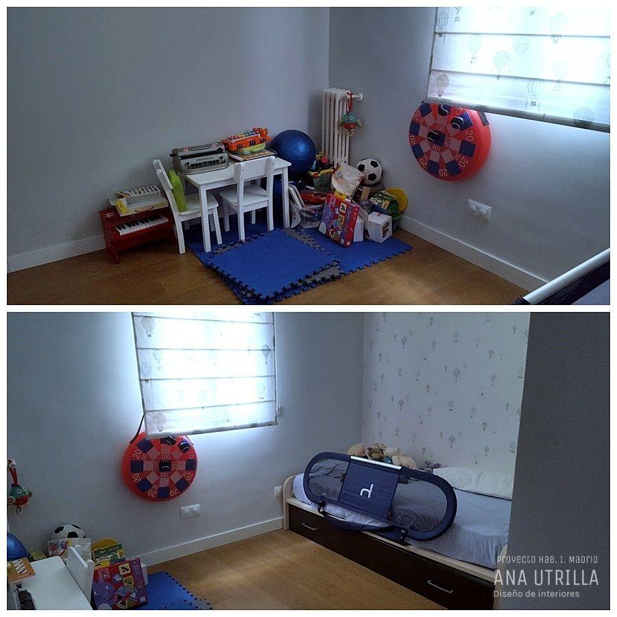 Fotos antes del proyecto de diseño y decoración de interiores de habitación infantil en Madrid de estilo nórdico y clásico renovado @Utrillanais