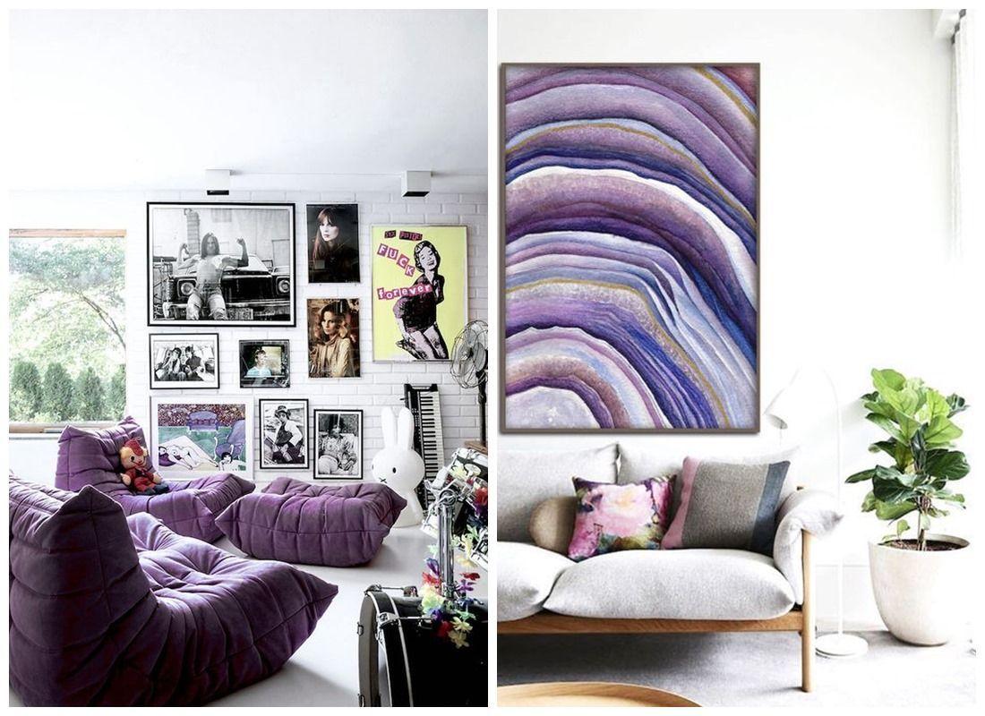 Habitaciones decoradas con accesorios y muebles en color ultra violet @Utrillanais