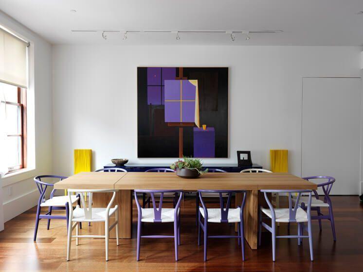 Cómo introducir el color ultra violet en tu decoración, ejemplo de zona de comedor @Utrillanais