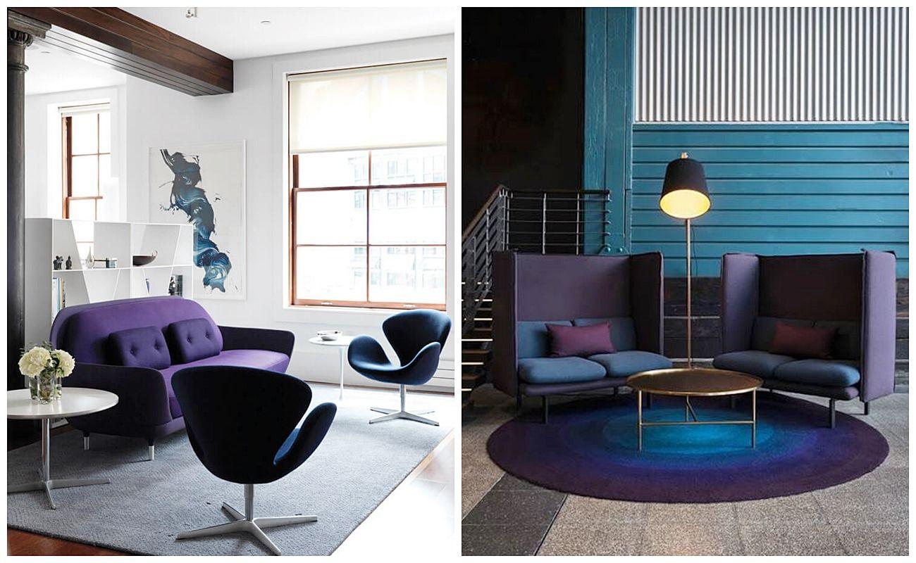 Color de acento ultra violet para salón-comedor de estilo nórdico chic elegante @Utrillanais