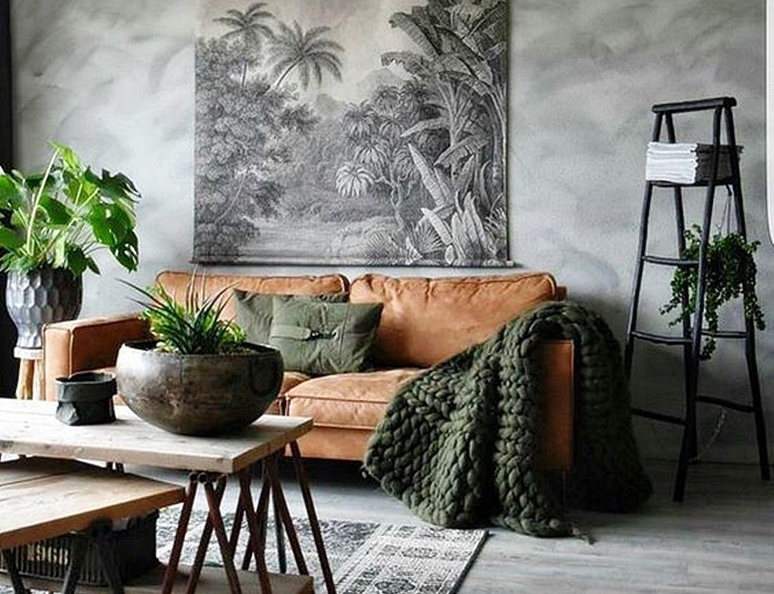 Salón de estilo rústico-industrial en tonos marrones y verde, muy acogedor @utrillanais