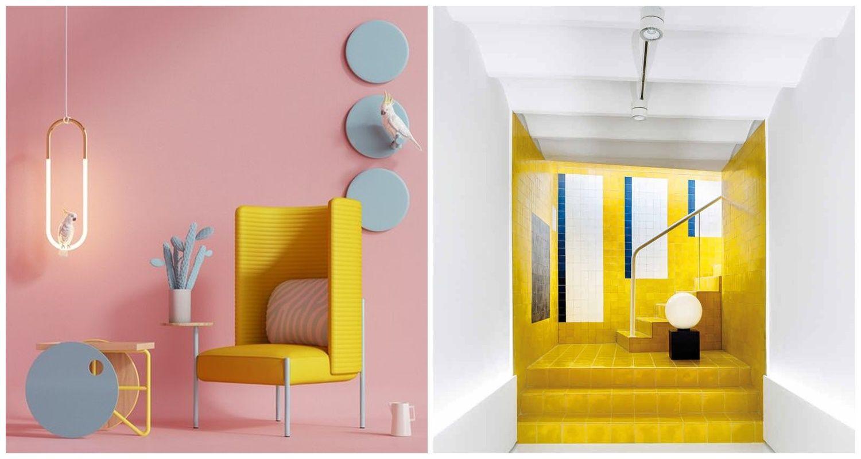 Decoración de interiores en rosa millenials y el amarillo Gen Z