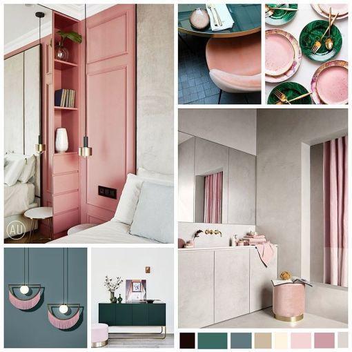 Moodboard de estilo Art Decó Moderno de tonos turquesas y rosas por @Utrillanais