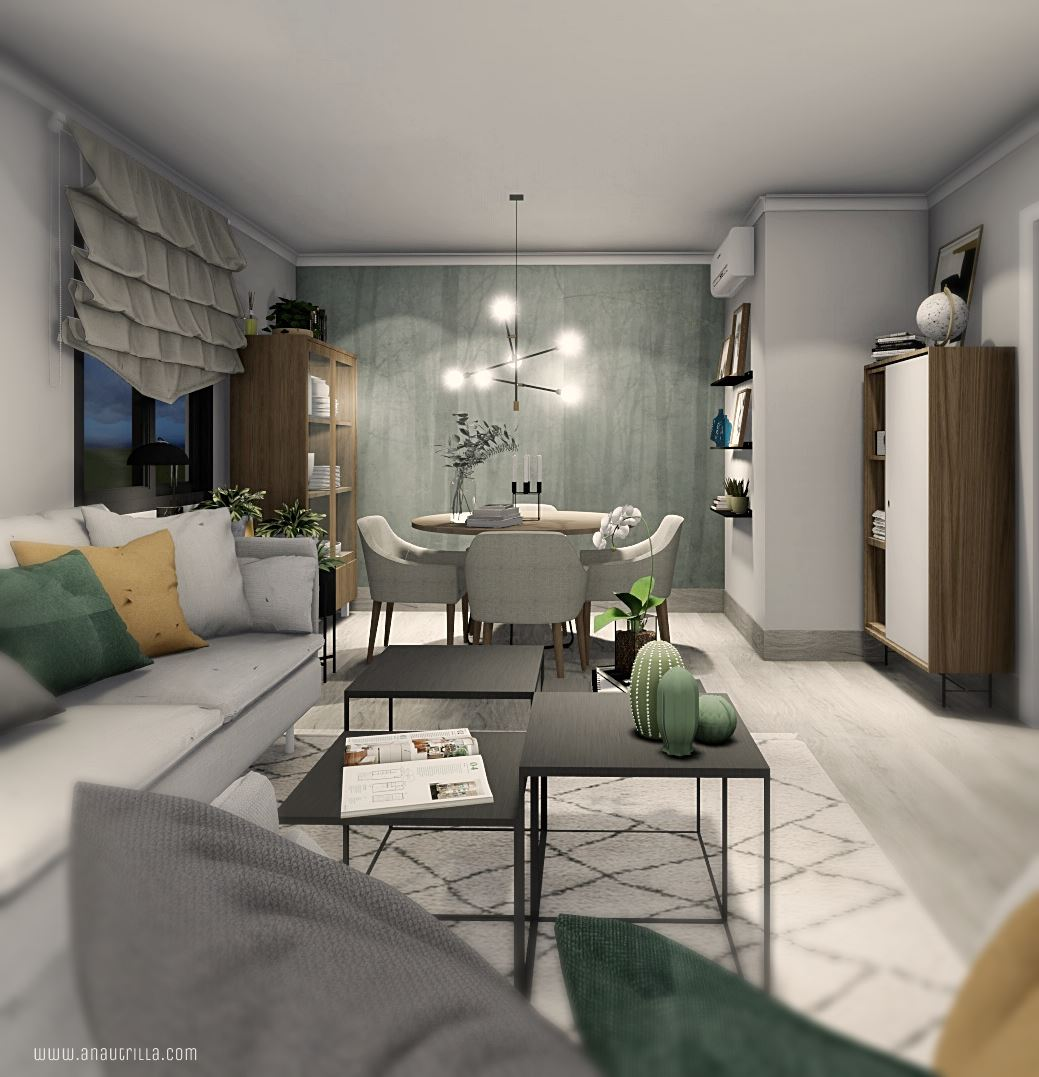 Proyecto de diseño e interiorismo en 3D, de salón comedor de estilo escandinavo contemporáneo en Málaga #Interiorismocasasrurales #AnaUtrilladiseñointeriores @utrillanais