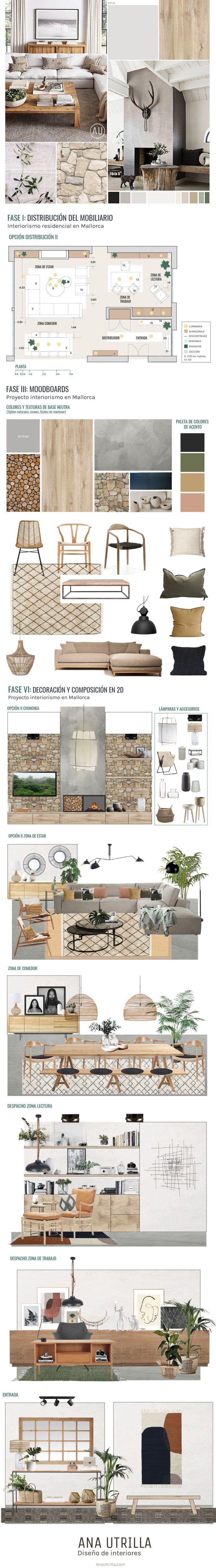 Proyecto de interiorismo residencial en Mallorca para un salón comedor, zona de despacho y trabajo, y entrada, de estilo nórdico mediterráneo, por Ana Utrilla @Utrillanais