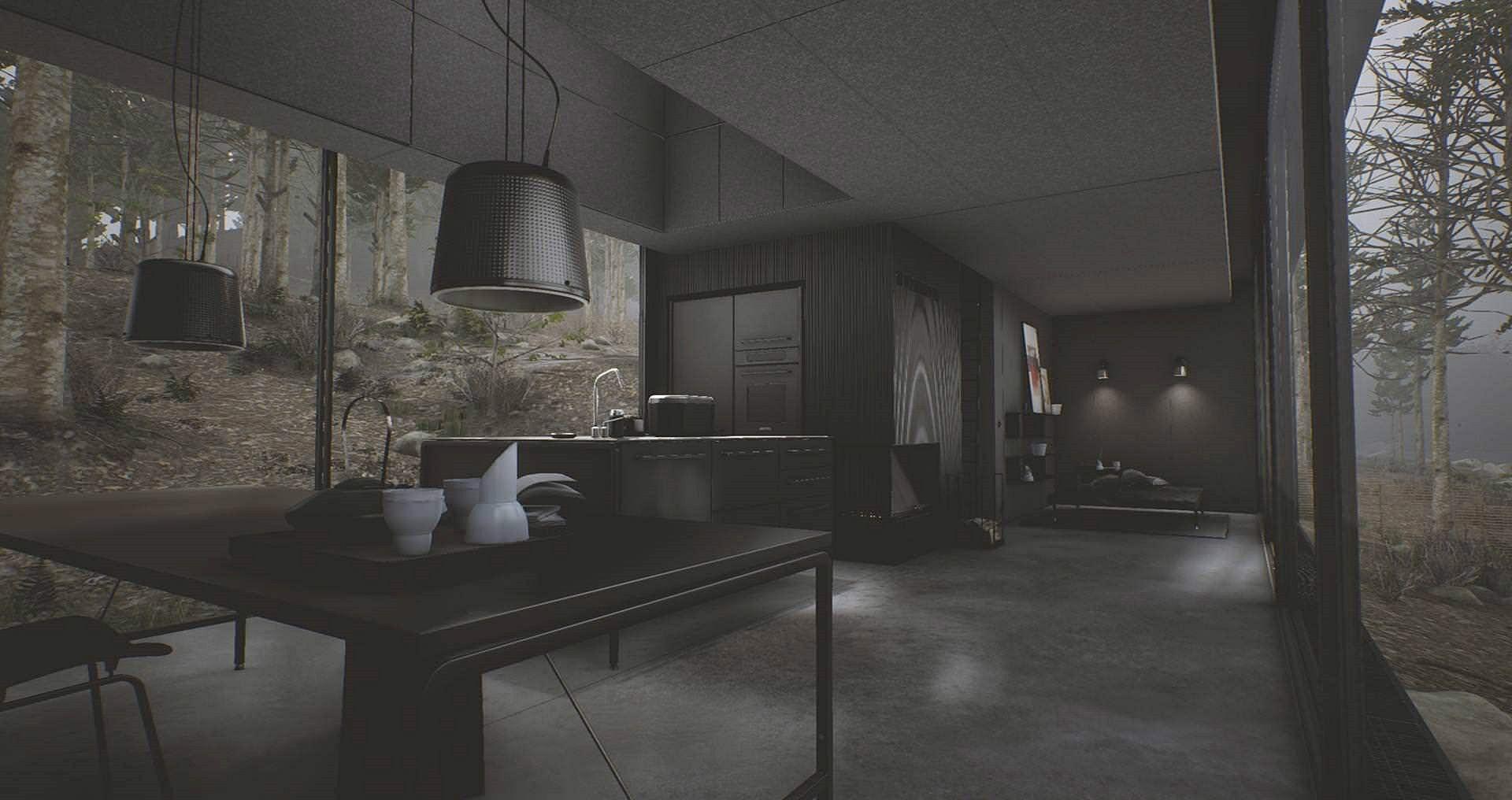 Interior hotel Vipp Shelter en 3D, consejos para iluminar una habitación oscura @Utrillanais