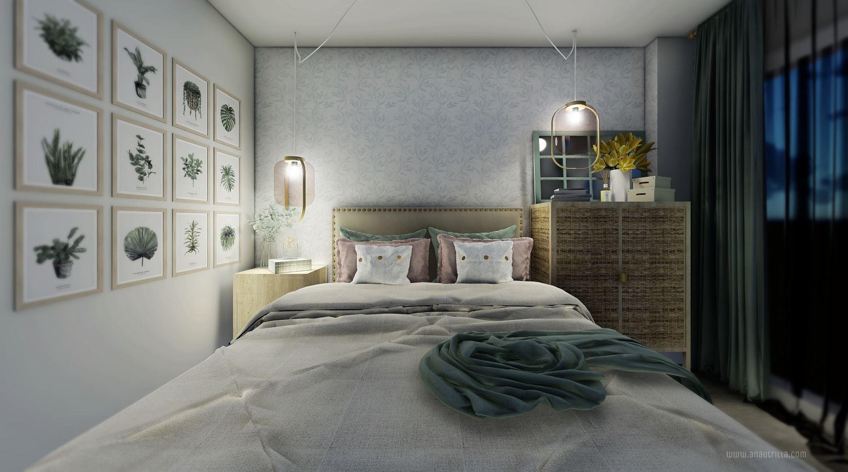 Infografía en 3D de habitación principal de proyecto de interiorismo en Madrid, de estilo nórdico y toques femeninos #Anautrillainteriorismo #rendering3D @utrillanais