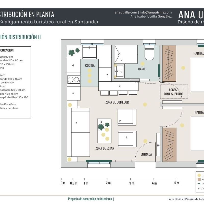 Plano de planta de proyecto de diseño de interiores para casa rural en Santander #Diseñocasasconencanto #AnaUtrillainteriorismo @Utrillanais