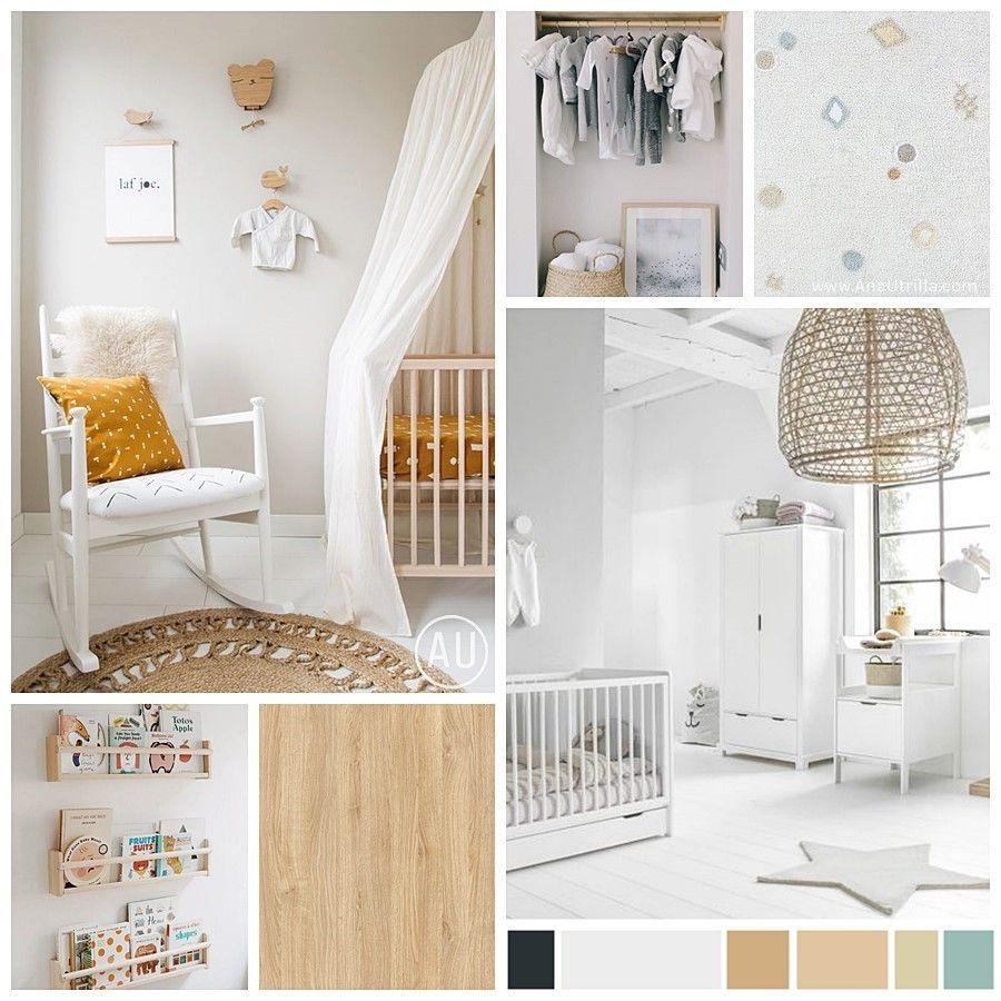 Moodboard de materiales, paleta de colores e imágenes de referencia para el manual de estilo decorativo de esta habitación infantil en Madrid @utrillanais
