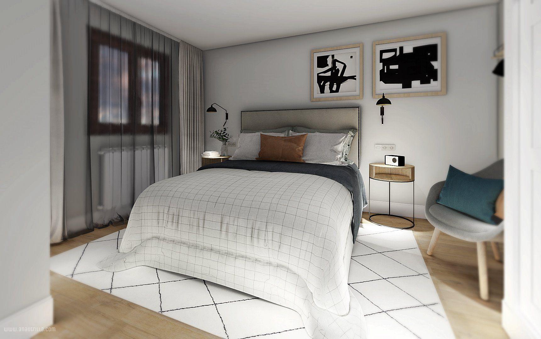Habitación de invitados de estilo clásico renovado, elegante sobre base de tonos neutros y toques azules. Proyecto de diseño de interiores en 3D online en Valladolid #Anautrillainteriorismo @Utrillanais