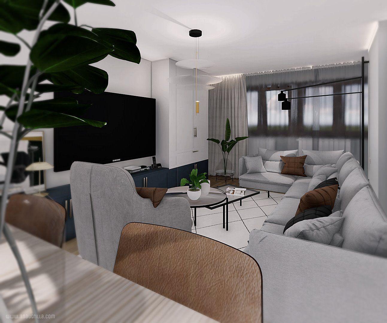 proyecto interiorismo 3D a medida, espacio de salón comedor y cocina, de concepto abierto y tonos azules #Anautrillainteriorismo #slowinteriordesign @utrillanais