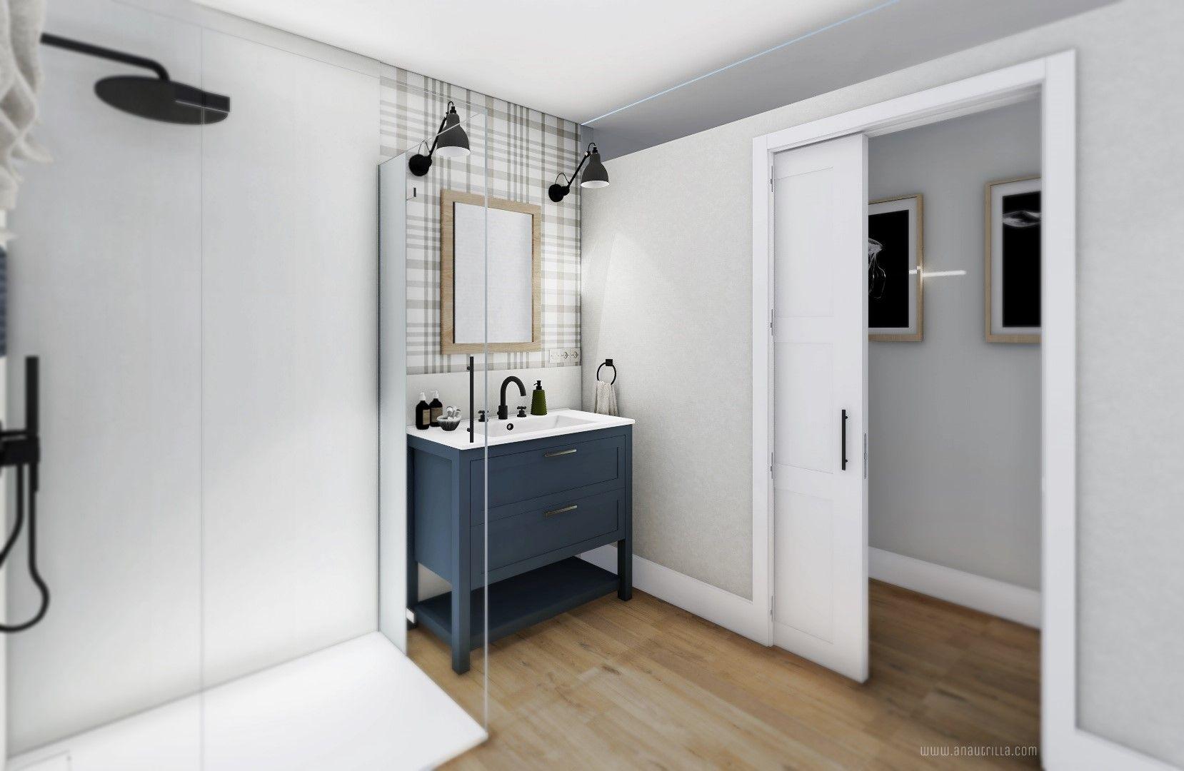 Espacio de baño con lavabo sobre mueble de color azul clásico y estilo farmhouse y papel pintado de cuadros escoceses en la pared, apliques negros y ducha mural, proyecto de diseño e interiorismo en Valladolid 3D #Anautrillainteriorismo @utrillanais