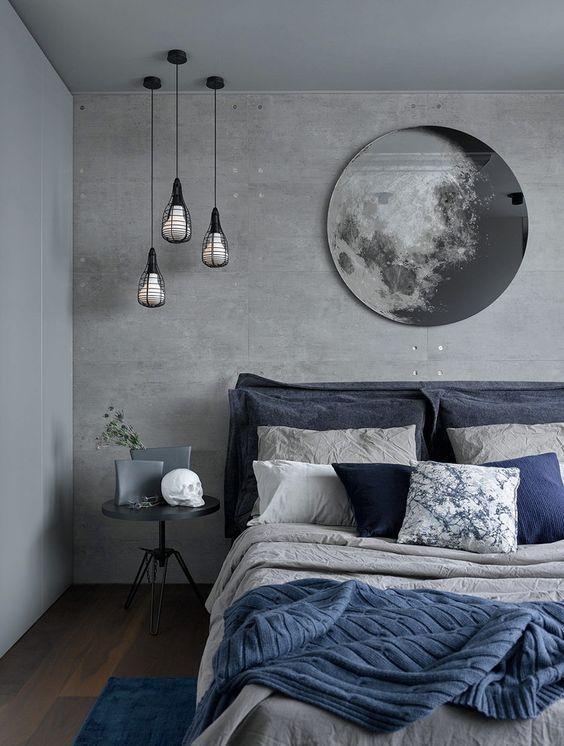 Dormitorio de estilo moderno nórdico, en tonos grises y azules, una forma de introducir el color pantone 2020 en tu decoración de interiores @Utrillanais