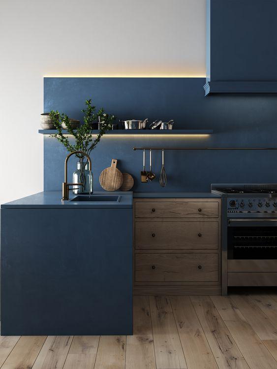 Cocina de color azul, ejemplo de cómo puedes añadir el color pantone 2020 a tu hogar @Utrillanais
