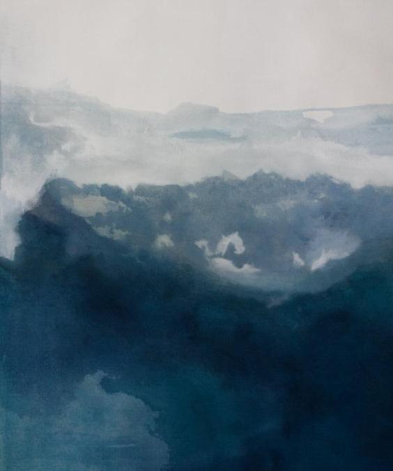 Ilustración abstracta en tonos azules oscuros de Etsy, ejemplo para integrar el color pantone 2020 en el interiorismo de tu hogar @Utrillanais