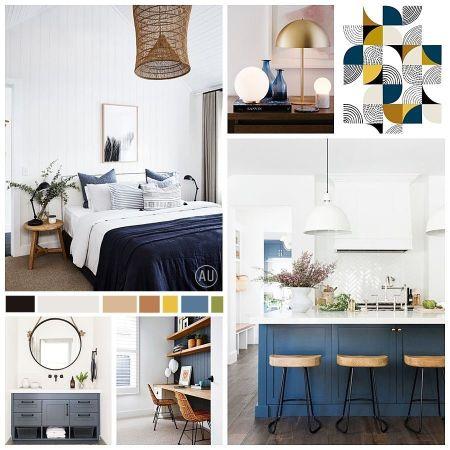 Moodboard de decoración de interiores de ejemplos en tonos azules como inspiración para un nuevo proyecto de interiorismo y paleta de colores complementaria por Ana Utrilla @Utrillanais