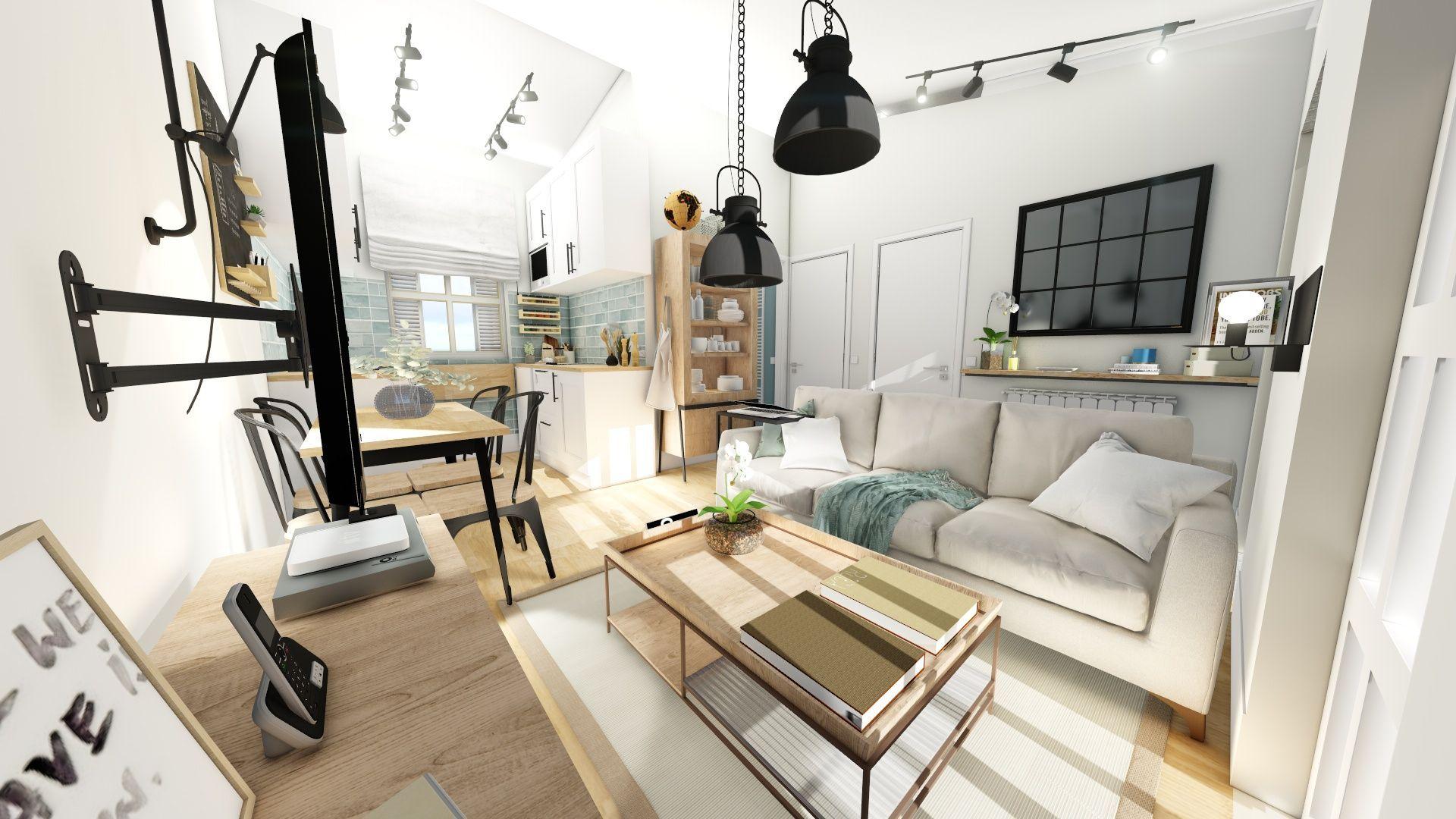 Proyecto diseño e interiorismo 3D online para casa rural en Santander de estilo Farmhouse moderno #SlowInteriorDesign #SlowLife #AnaUtrillaInteriorismo @Utrillanais