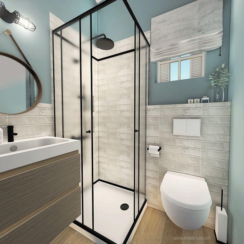 Zona de baño en casa rural con encanto, proyecto de diseño e interiorismo en 3D. #AnaUtrillaInteriorismo @Utrillanais