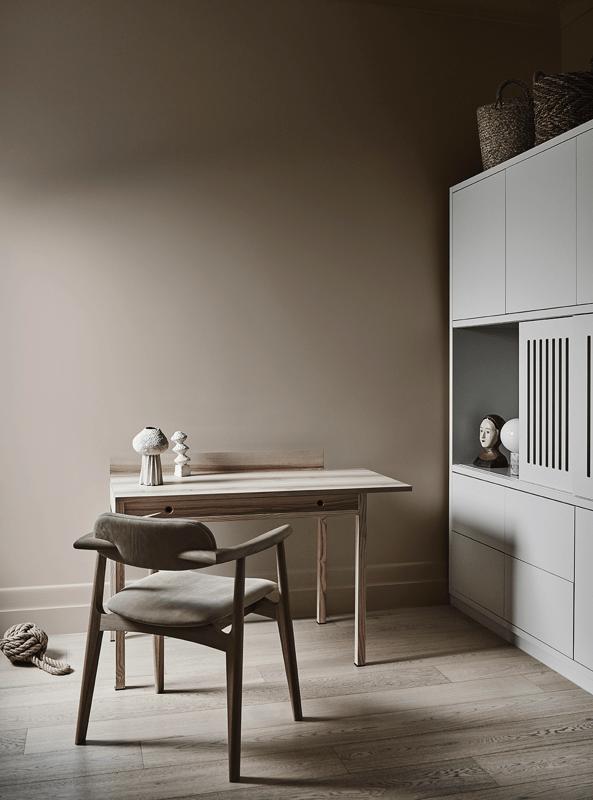 Zona de oficina en casa en tonos neutros, lleno de calma y tranquilidad colores en tendencia 2020, bruguer. #anautrillainteriorismo @utrillanais