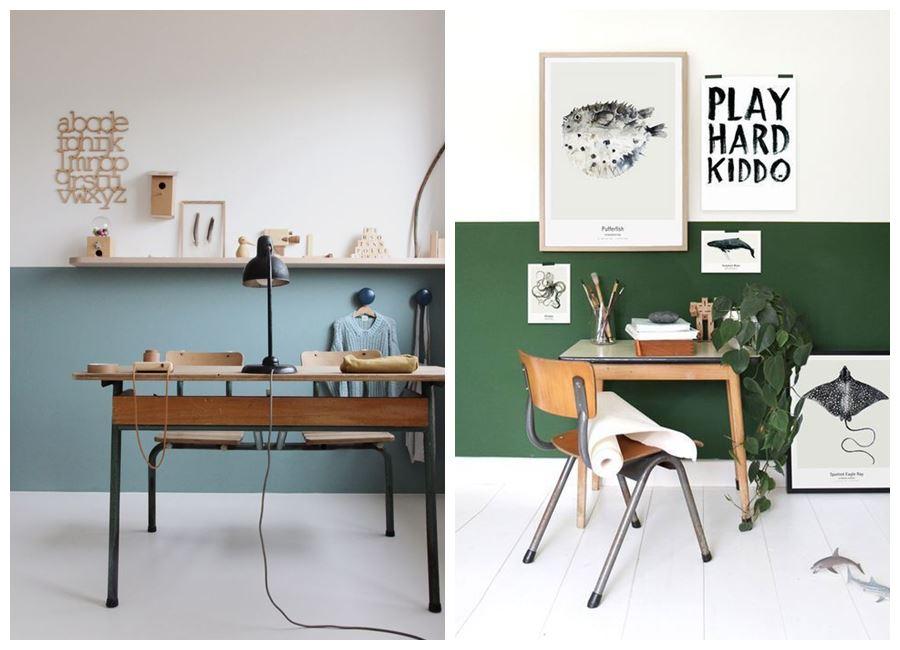Zona de escritorio para los más peques de casa de colores más vibrantes, de estilo nórdico vintage #kidshomeoffice @utrillanais