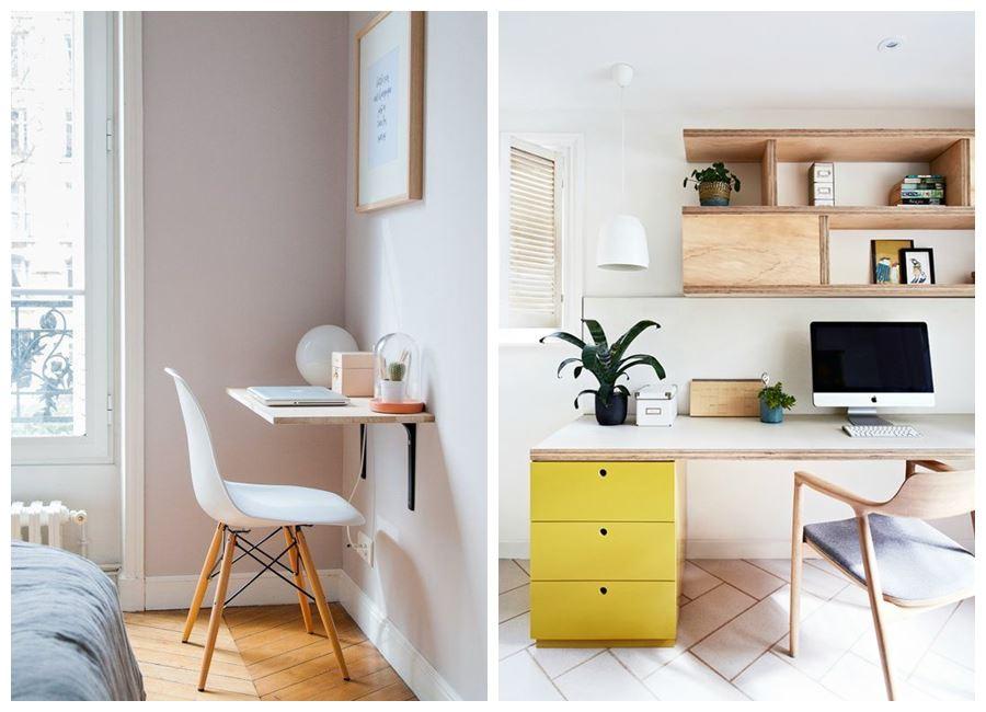 Crear espacio de trabajo en casa, a través de espacios bien iluminados, en tonos neutros #homeoffice @utrillanais