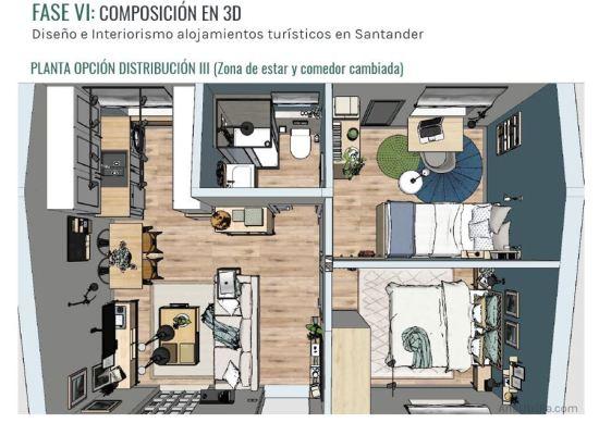 Planta en 3D de alojamiento turístico rural en Santander, proyecto de diseño e interiorismo en 2D-3D @utrillanais