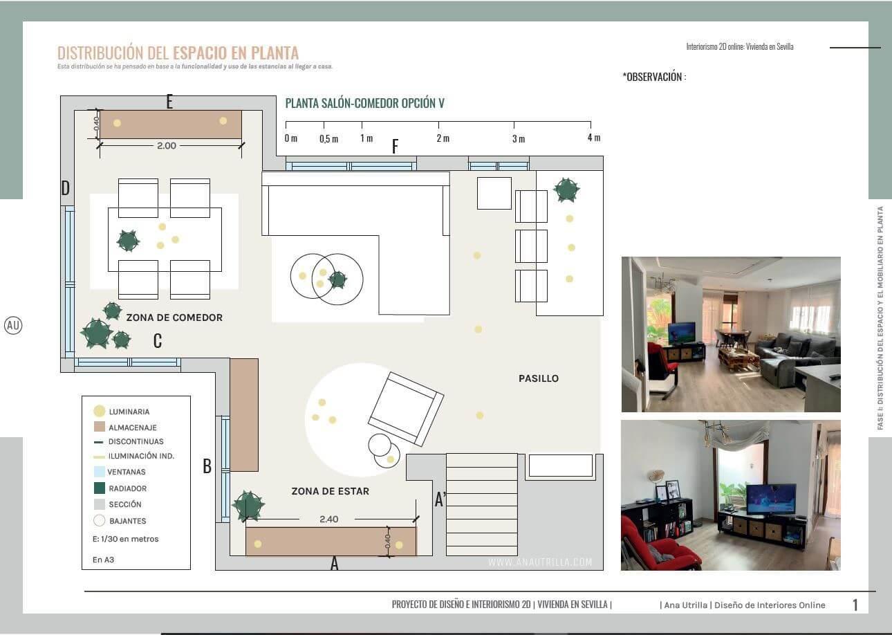 Proyecto de asesoría en interiorismo online en 2D de salón comedor en Sevilla. Plano de planta en el que se indica la distribución del mobiliario que mejor aprovecha el espacio del mismo #AnaUtrillainteriorismoonline #Proyectodecoamedida