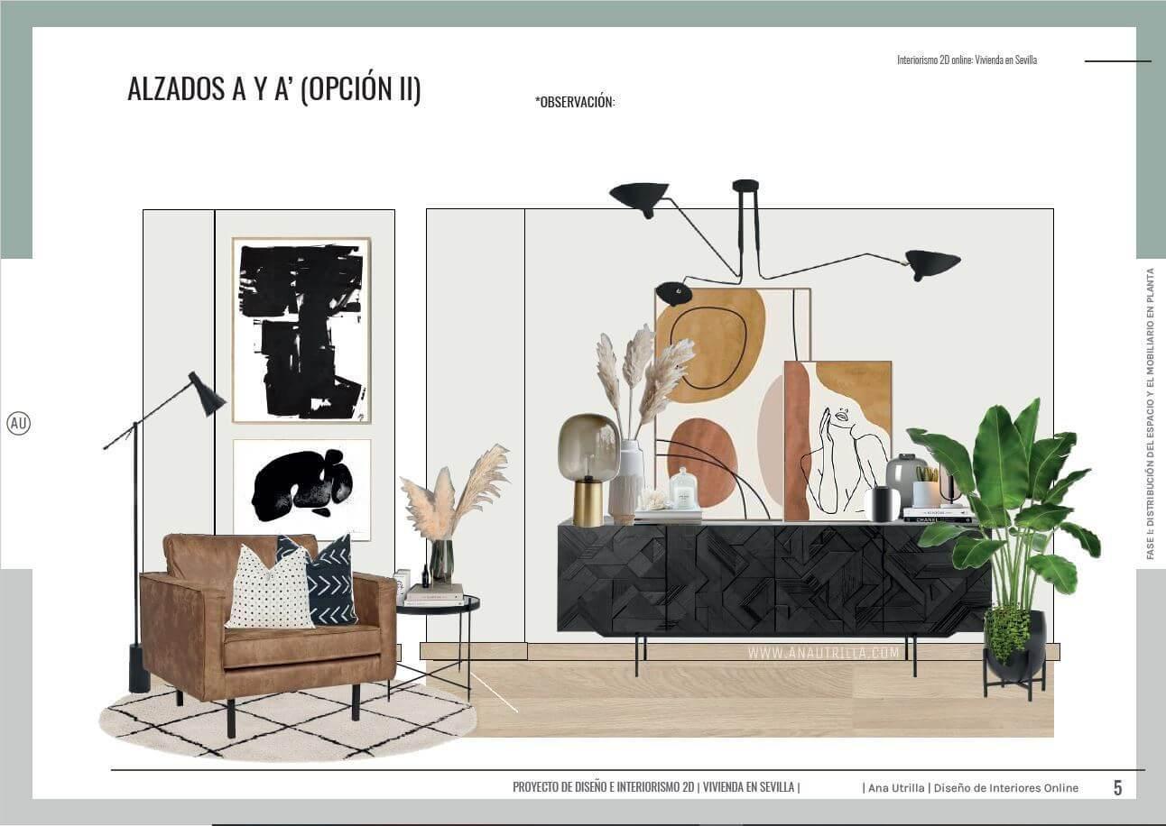 Proyecto de diseño de interiores online en 2D para salón comedor en Sevilla de estilo contemporáneo. #AnaUtrillainteriorismoonline #Proyectosdecoonline